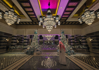 Al Qsar lobby at Christmas